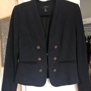 F21 navy blue cropped blazer w/ gold buttons